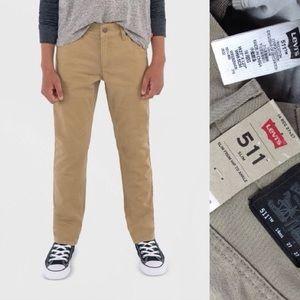 """Levi's Boys 511 Slim Khaki Colored Jeans 14 27 20"""""""